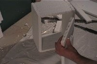 Haunted house polystyrene sculpting