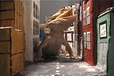 Godzilla attacks a city